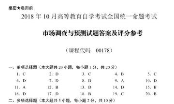 【必备】自考《00178市场调查与预测》历年真题及答案电子版【22份】【已含18年10月】【改卷答案/评分标准】#【再送模考软件】