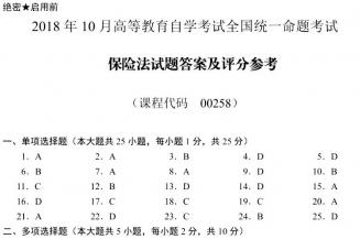 【必备】自考《00258保险法》历年真题及答案电子版【26份】【已含18年10月】【标准答案/含评分参考】/【再送单元测试题】/【再送考前深度密押题】/#【再送模考软件】【再送电子书】
