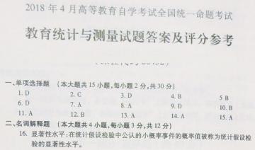 【必备】自考《00452教育统计与测量》历年真题及答案电子版【26份】【已含18年4月】【标准答案/含评分参考】#【再送模考软件】