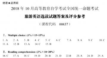 【必备】自考《00837旅游英语选读》历年真题及答案电子版【25份】【已含18年10月】【标准答案/含评分参考】【再送电子书】